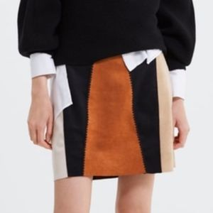 NWT ZARA FAUX SUEDE CHECKED PATCHWORK MINI SKIRT L
